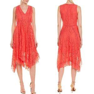 Taylor Lace Handkerchief Hem Sleeveless Dress Pink